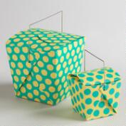 Dotted Yellow Florida Keys Take Out Boxes, Set of 4