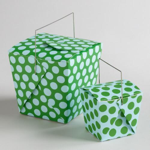 Blue and Green Dot Take Out Boxes, Set of 4