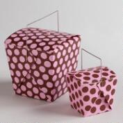 Pink and Brown Dot Take Out Boxes, Set of 4