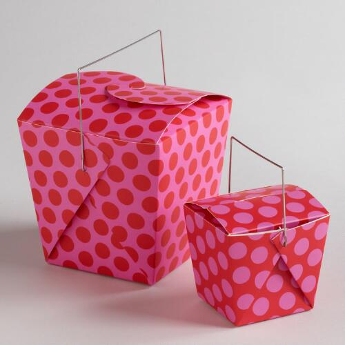 Pink and Red Dot Take Out Boxes, Set of 4