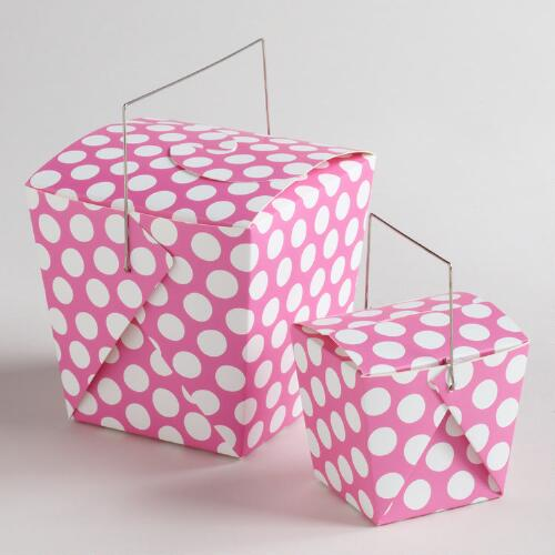 White and Pink Dot Take Out Boxes, Set of 4