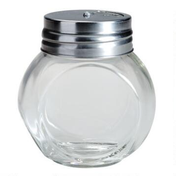 Round Spice Jars with Metal Shaker Lids, Set of 4