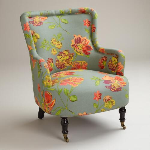 Gray Vintage Floral Reading Chair