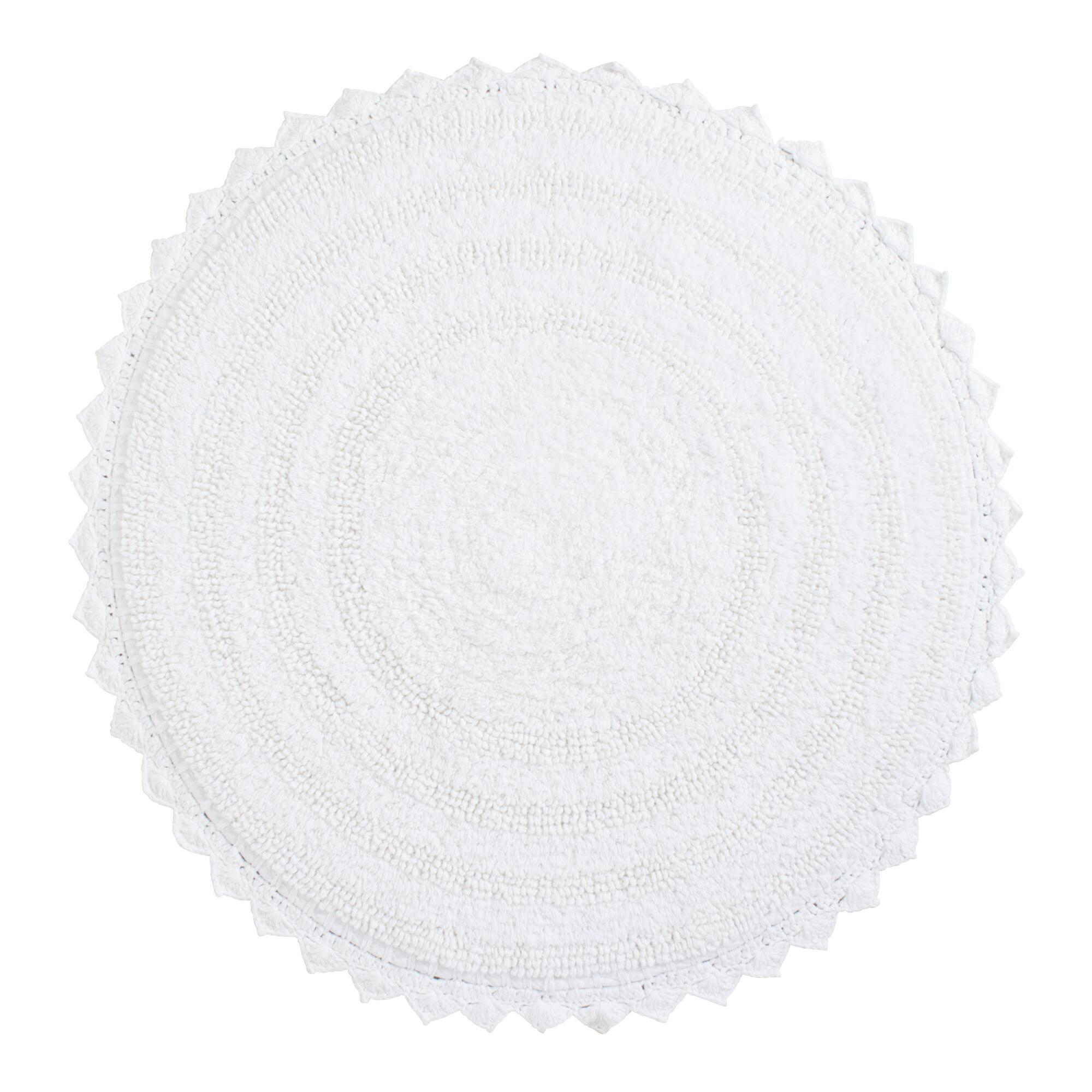 White Round Bath Mat World Market
