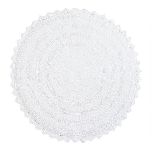White Round Bath Mat
