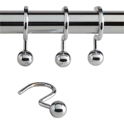 Chrome Ball Hook Shower Curtain Rings, Set of 12
