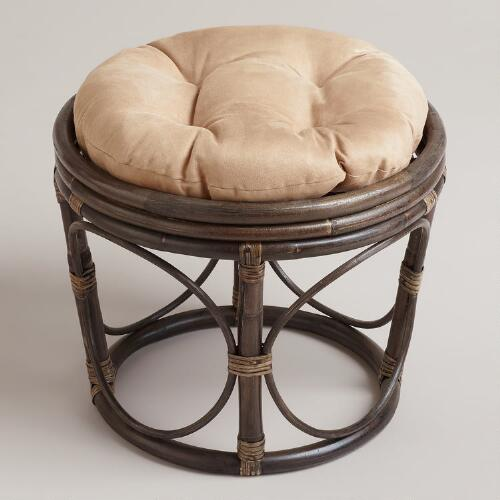 Khaki Microsuede Papasan Stool Cushion