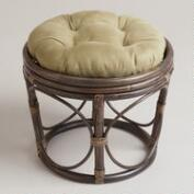 Olive Microsuede Papasan Stool Cushion
