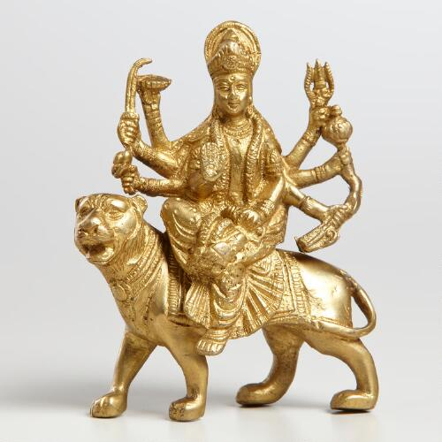 Brass Durga and Lion Figure
