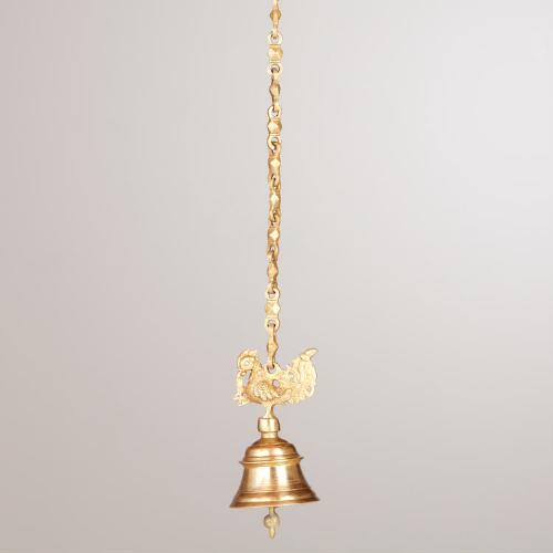 Brass Peacock Bell With Chain