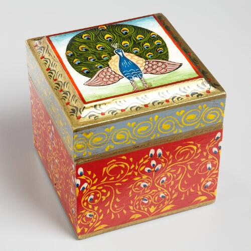 Square Painted Wood Peacock Box