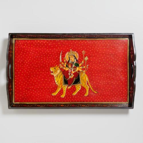 Large Wood Durga Tray