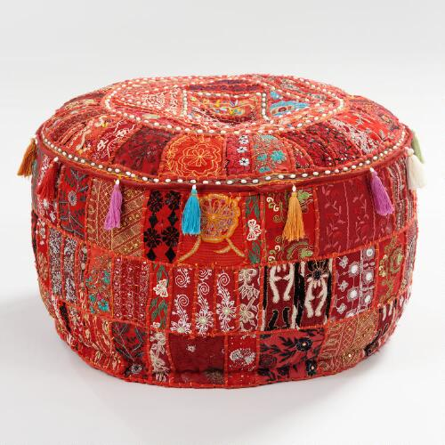Large Red Suti Patch Pouf