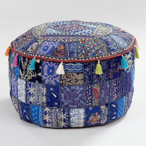 Large Blue Suti Patch Pouf