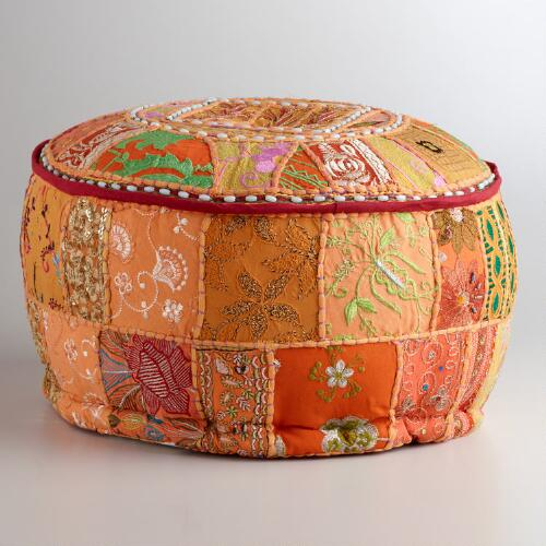 Small Orange Suti Patch Pouf