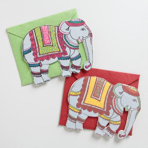 Traditional Elephant Handmade Cards, Set of 2