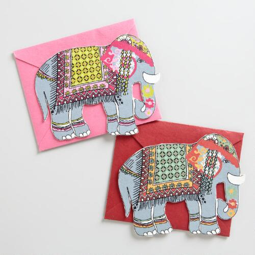 Ornate Elephant Handmade Cards, Set of 2