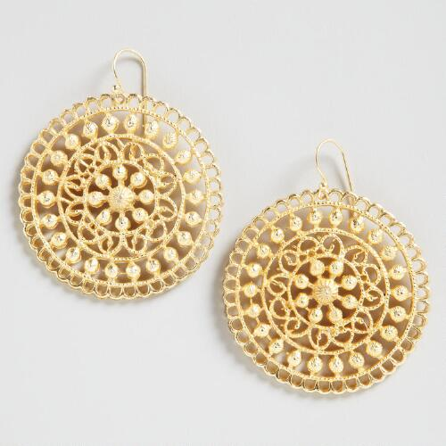 Large Gold Indian Medallion Earrings