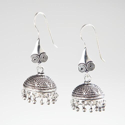 Silver Filigree Bell Indian Dangle Earrings