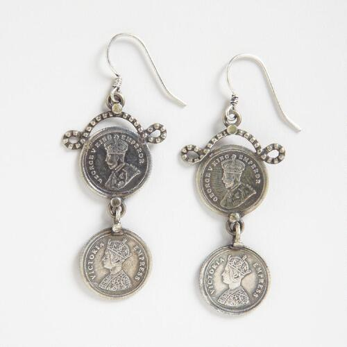 Silver Two Coins Dangle Earrings