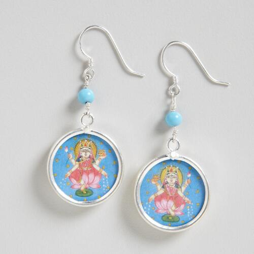 Silver Lakshmi With Turquoise Dangle Earrings