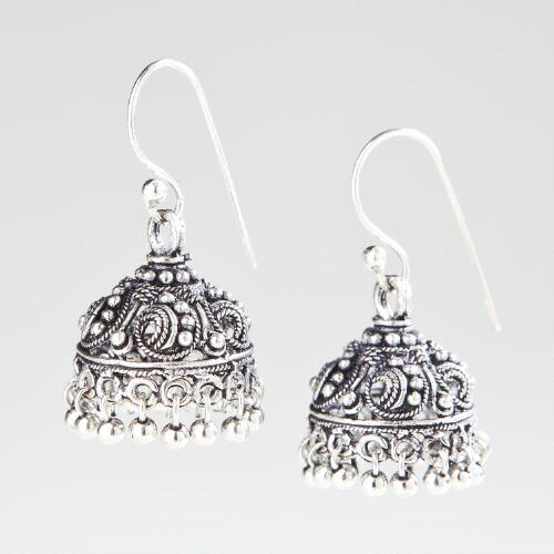 Silver South Indian Dangle Earrings