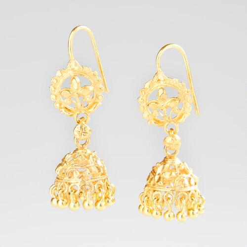 Gold South Indian Filigree Bell Shaped Dangle Earrings
