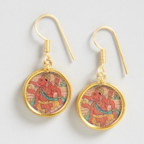 Gold South Indian Ganesha Pendant Earrings