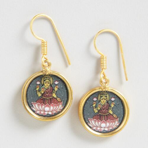 Gold South Indian Lakshmi Pendant Earrings