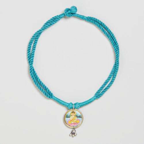 Turquoise Buddha Cord Necklace