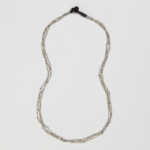 Silver Three-Strand Indian Beads Necklace