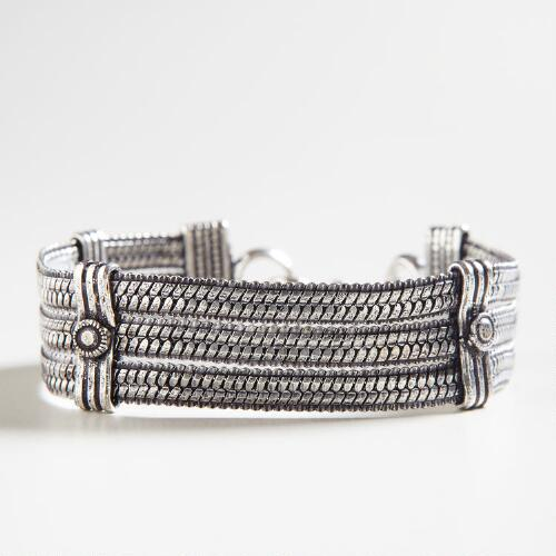 Silver Three-Braid Chain Bracelet