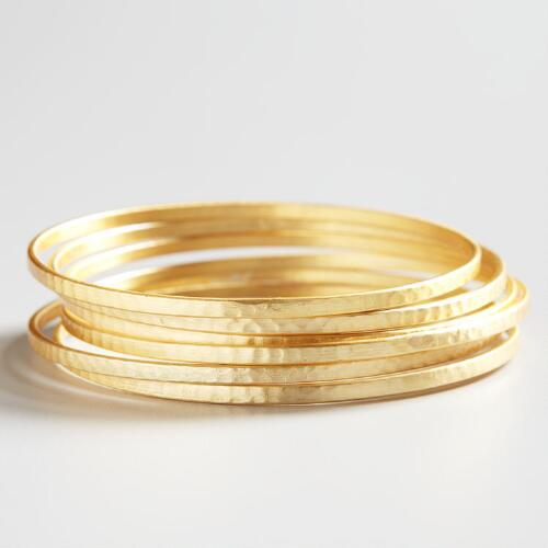 Gold Bangles, Set of 6