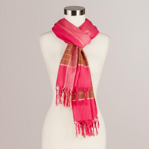 Fuchsia and Gold Woven Scarf