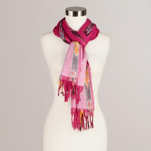 Purple and Ikat Woven Scarf
