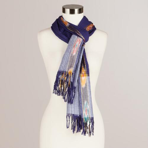 Navy and Ikat Woven Scarf