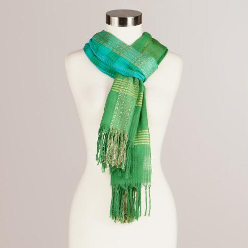 Turquoise and Ikat Woven Scarf
