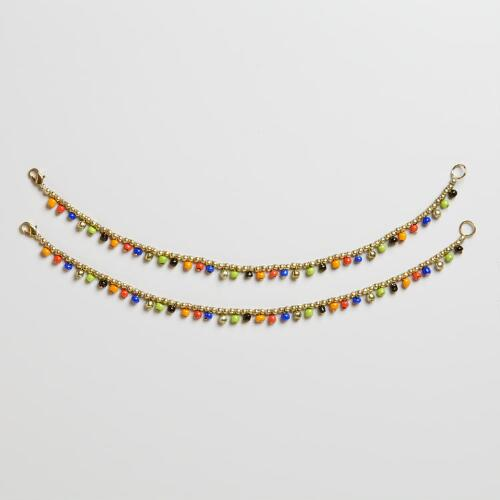 Gold Anklet With Multicolored Glass Beads, Set of 2