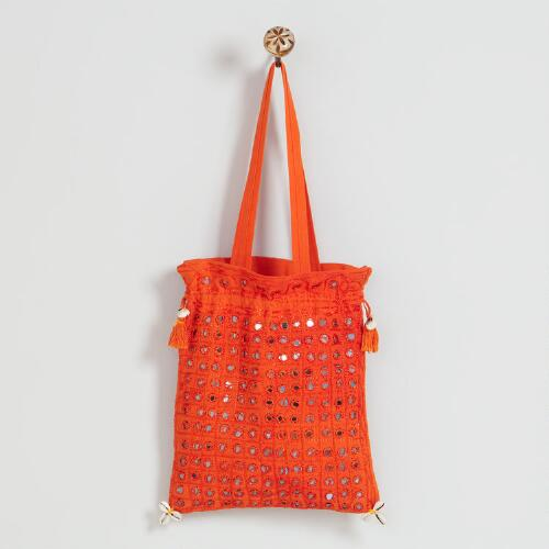 Orange Indian Mirror Bag