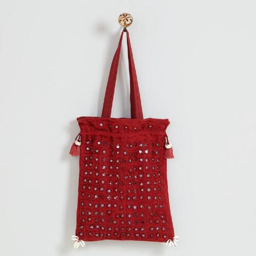 Dark Red Indian Mirror Bag
