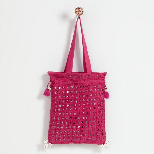 Hot Pink Indian Mirror Bag