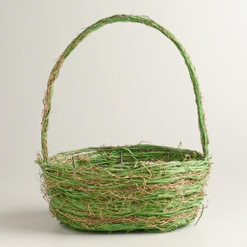 Medium Green and Gold Basket