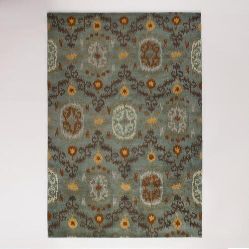 Dusty Blue-Green Ikat Tufted Sahara Rugs