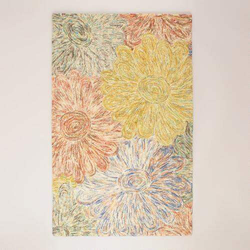 Multicolor Floral Hooked Rugs