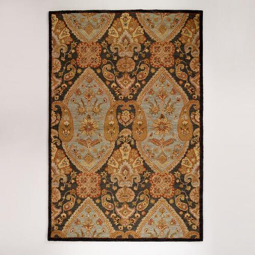 Charcoal and Gold Paisley Tufted Rugs