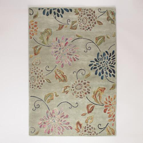 Gray Floral Carved and Felted Rugs