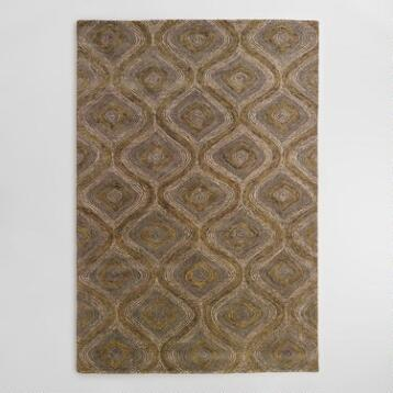 Blue and Gray Tonal Hooked Rug