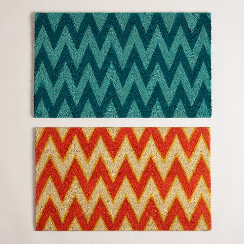 Orange and Blue Chevron Doormats