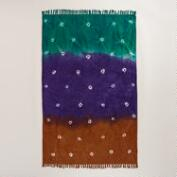 4'x6' Teal and Purple Tie-Dye Dhurrie Rug