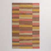 Multicolor Off-Placed Stripe Cotton Area Rug